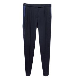Veronica Beard Black Trousers with Blue Silk Inserts
