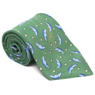 Hermes Green Tie with Moon and Stars Print