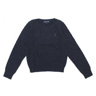 Ralph Lauren Wool Navy Cable Knit Jumper