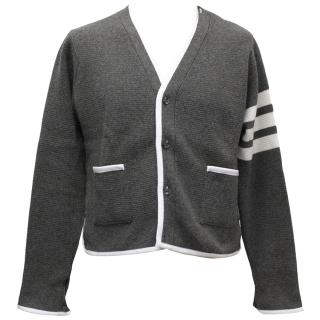Thom Browne Grey Cashmere Cardigan with White Trim