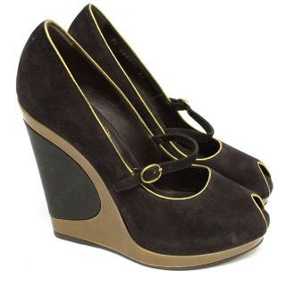 YSL Eggplant Wedges with Gold Trims