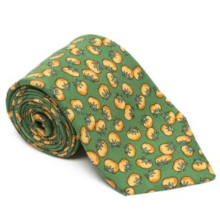 Hermes Green Tie with Oranges Print