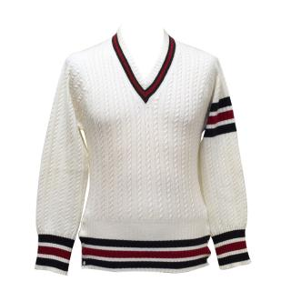 Thom Browne Cream Cashmere Cable Knit with Red & Blue Stripe