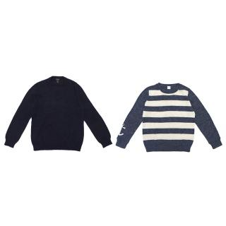 Crewcuts Navy Cashmere & Blue and Cream Sweater Set