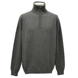 Asprey Grey Cashmere 1/4 Zip Jumper