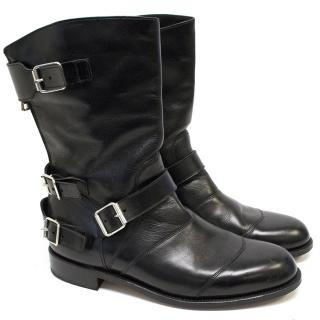 Balmain Black Leather Biker Boots