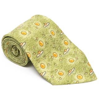Hermes Lime Green Tie with Planets, Stars and Ovnis Print