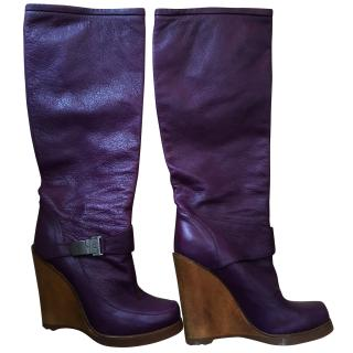 Mulberry tall wedge boots Purple