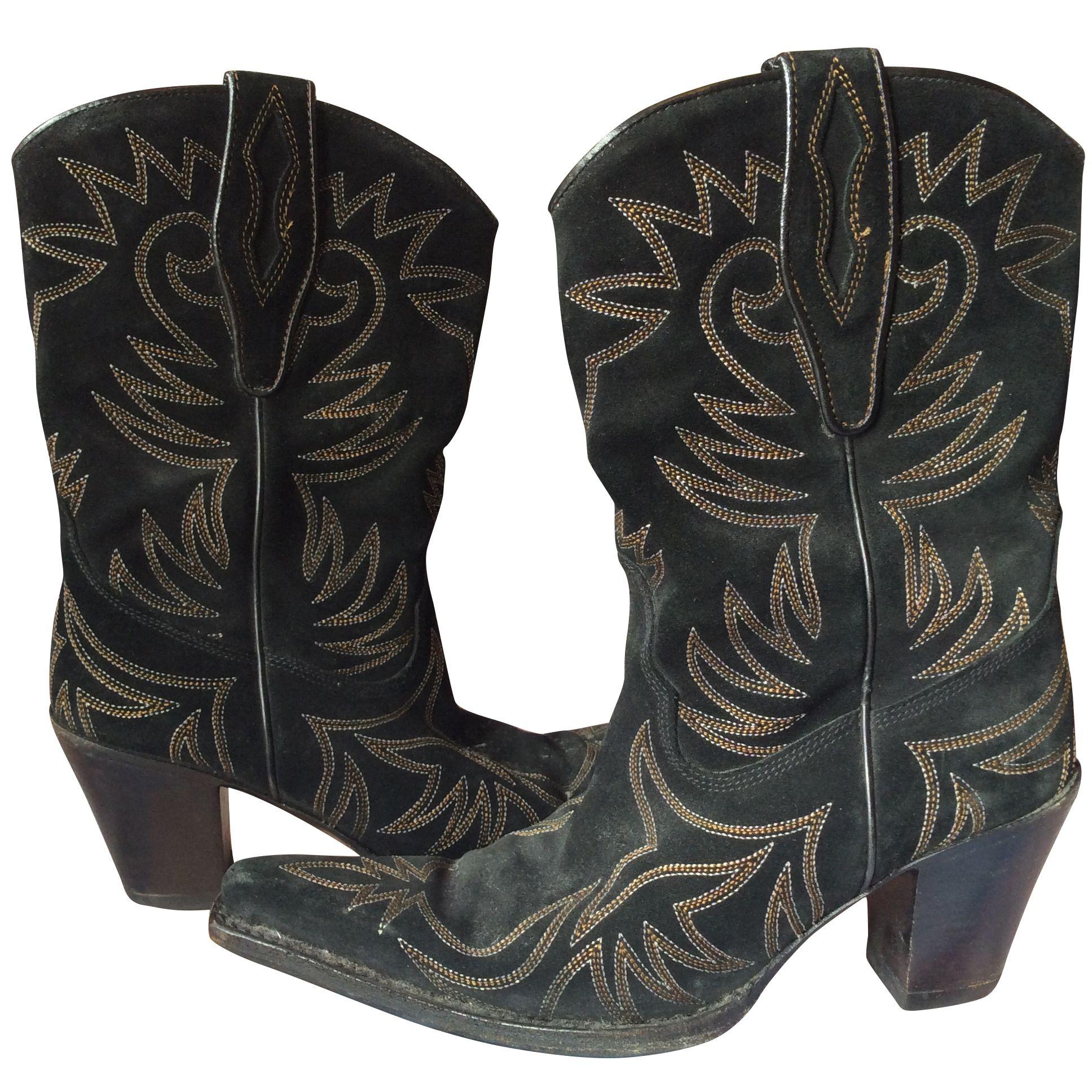 9891a0b8cc8 R Soles vintage suede cowboy boots, black, size 38
