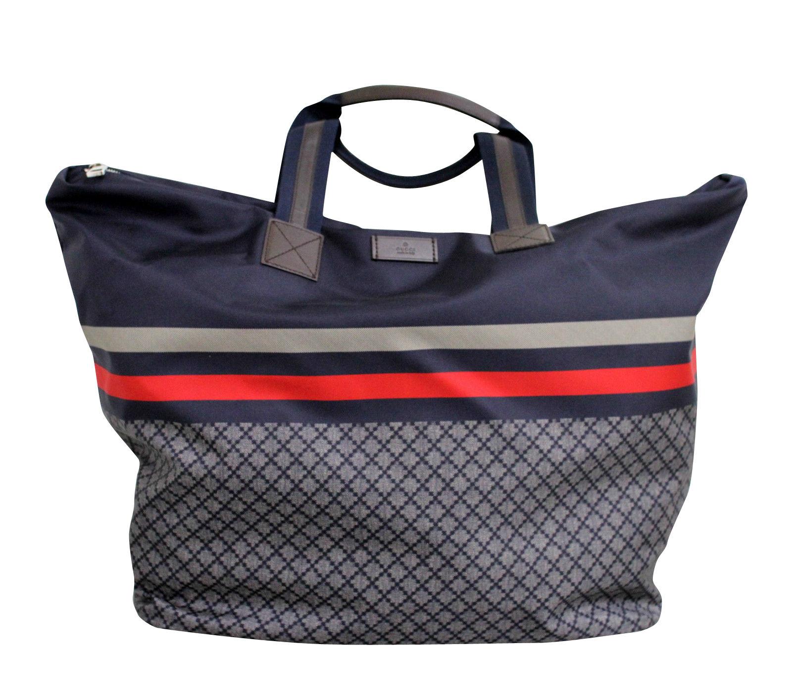 GUCCI Unisex Diamante Tote Travel BAG Blue XL