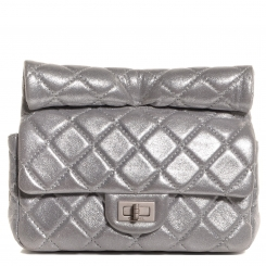 2827e51e96f120 Chanel Iridescent Silver Quilted Reissue Roll Clutch Bag   HEWI London