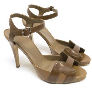 Hermes Brown Ankle Strap Heels