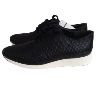 Vince Black Snakeskin Leather Trainers