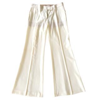 Stella Mc Cartney cream wool twill wide trousers
