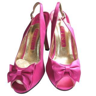 Gina hot pink silk slingback shoes