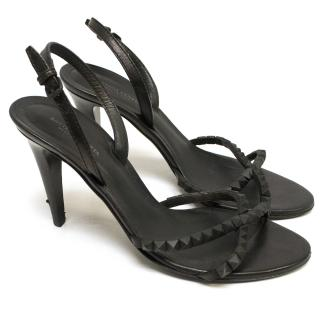 Bottega Veneta Black High Heel Sandals with Studded Strap