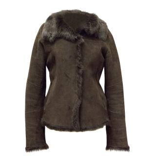 Joseph Brown Coat with Brown Sheepskin fur interior.