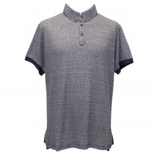Roland Mouret Blue & Grey Linen-Blend Shirt