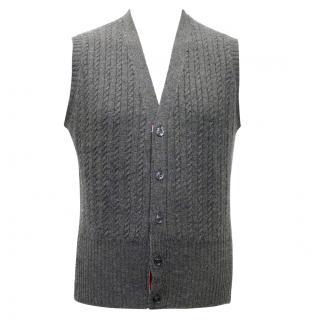 Thom Browne Grey Cable Knit Cashmere Vest