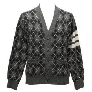 Thom Browne Grey Patterned Cardigan