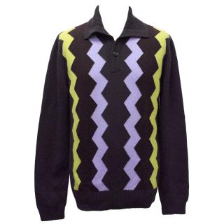 Hermes Purple Cashmere Jumper with a Zig Zag Pattern