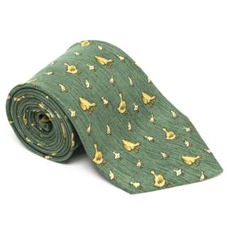 Hermes Green Tie with Yellow Duck Print