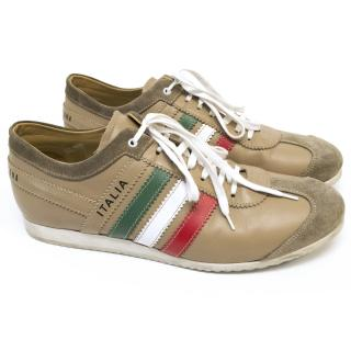 Dolce & Gabbana Beige Trainers with the Italian Flag