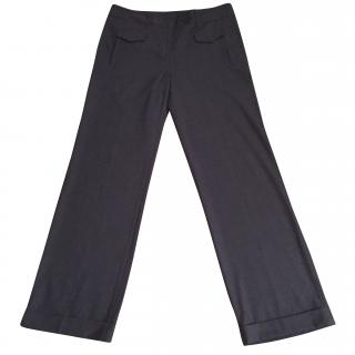 Tommy Hilfiger grey wool stretchy wide leg tailored trousers