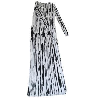 Dagmar White and Black Maxi Dress