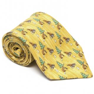 Hermes Yellow Tie with Squirrels and Trees Print