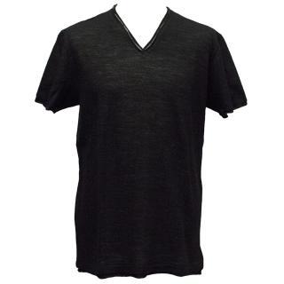 Dolce & Gabbana Black Wool Blend V-Neck Top