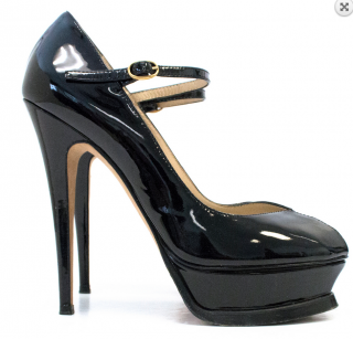 Saint Laurent Black Patent Tribute Pump with Peep Toe