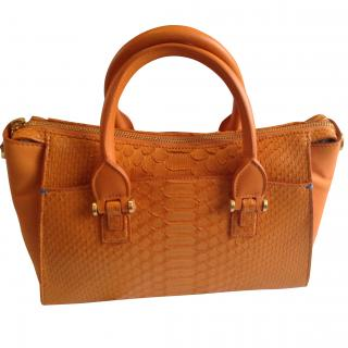 Smythson  Eliot collection Orange  Python  and Nubuck Tote