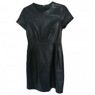 Massimo Dutti Black Leather dress
