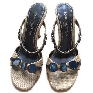 Louis Vuitton Hessian and Blue Agate Gem Sandals