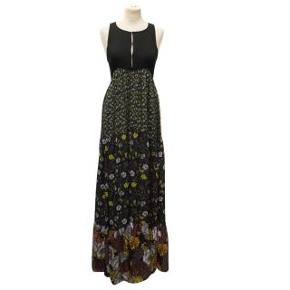Proenza Schouler Silk Floral Black Tiered Dress