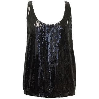 Tamara Mellon Black Sequin Top