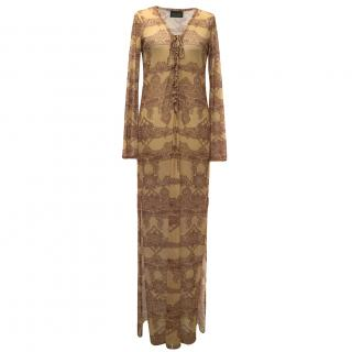 Adriana Degreas Tan and Red patterned maxi dress