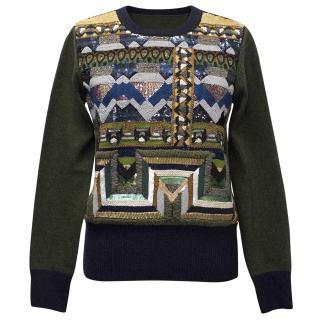 Etro Embellished Khaki Green Wool Sweater