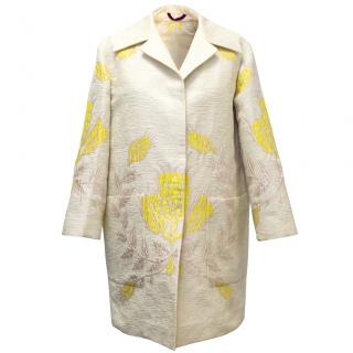 Etro Cream Silk-Blend Coat with Yellow & Pink Flowers