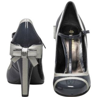 Mulberry Grosgrain Patent Pump Kitty Bow Heels