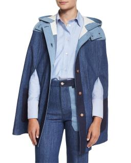 See By Chloe Patchwork Denim Cape