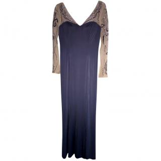 Jovani beaded evening gown in nude mesh & steel blue silk