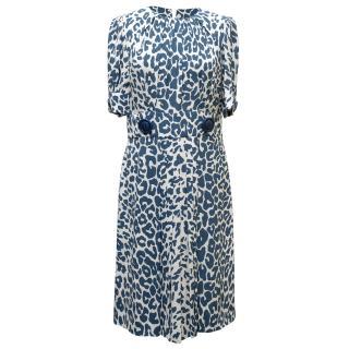 Miu Miu Blue & White Leopard Dress
