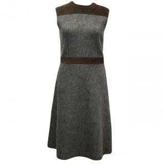 Louis Vuitton grey mohair wool and suede dress