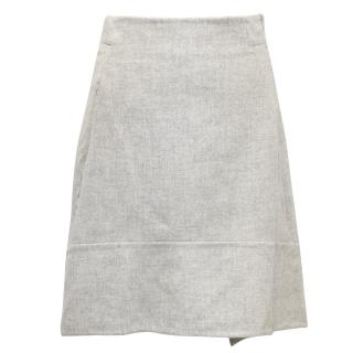 Akris Grey Cashmere Double-Face Skirt