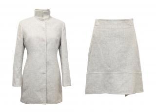 Akris Grey Bivio Cashmere Double-Face Tailcoat and Skirt Set
