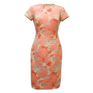 Carolina Herrera Pink and Beige Floral Dress