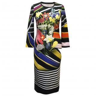 Mary Katrantzou Long Sleeve Flower Print Dress