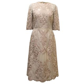 Dolce & Gabbana Pale Pink Embroidered Lace Dress